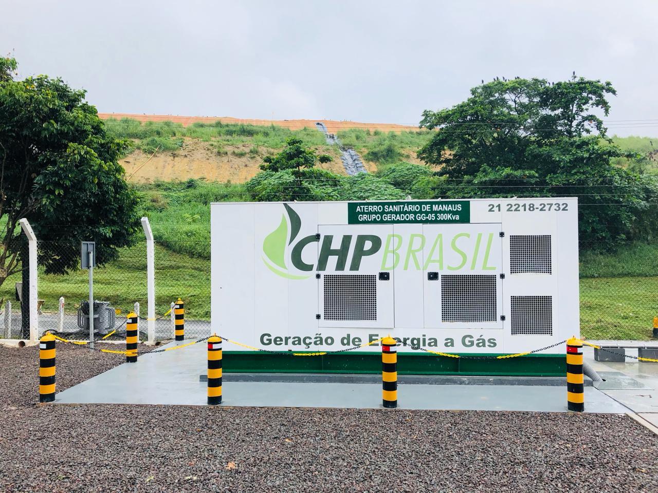 Neste aterro sanitário, um gerador CHP 300 produz energia a partir do biogás gerado nas células de resíduos.